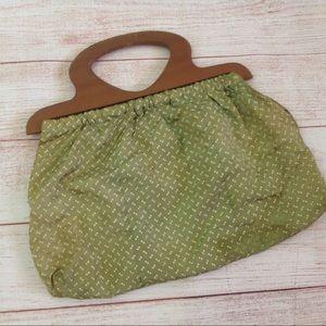 Vintage Green Print Wooden Handle Boho Purse